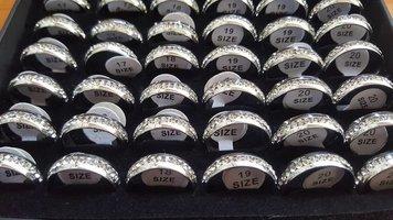 Rvs ringen zilver met steentjes